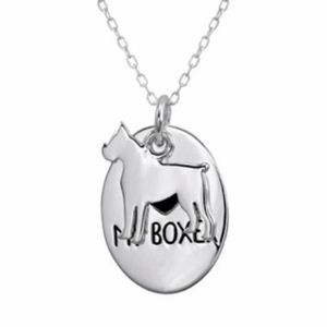Love My Boxer Dog Silver Pendant Necklace Boxed